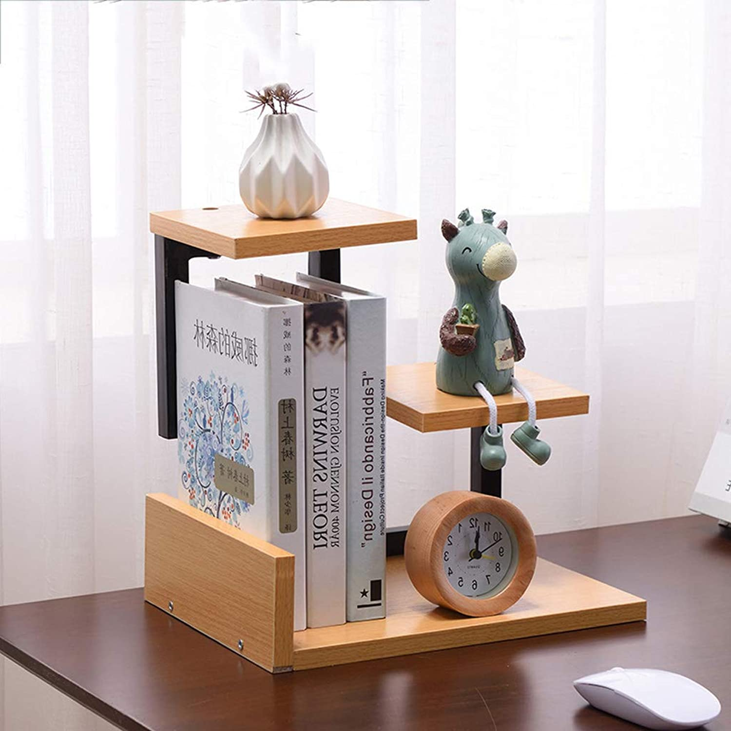 YAXIAO Desktop Bookshelf Simple Books Sundries Storage Rack Decorative Frame 30x23.5x31cm Bookshelf (color   B)