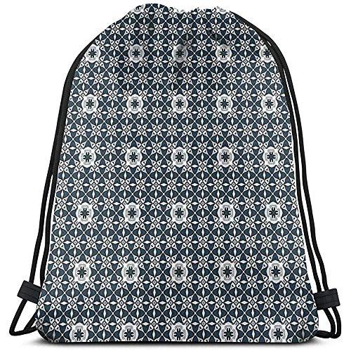 Bolsa de cordón con cordón, bolsa de cuerda de tirar, mochila europea, azulejo portugués, mosaico, patrimonio cultural, folklórico, español, deporte, bolsa de viaje, bolsa de gimnasio