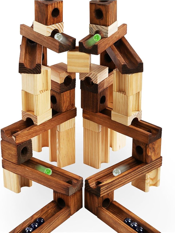 LINAG Onshine DIY Blcke Bau Lernspielzeug, Holz Marmor Run Gebude, Montiert Track Ball Kombination Marmor Spiel, Für Kinder Weihnachten Geburtstagsgeschenk und Eltern-Kind