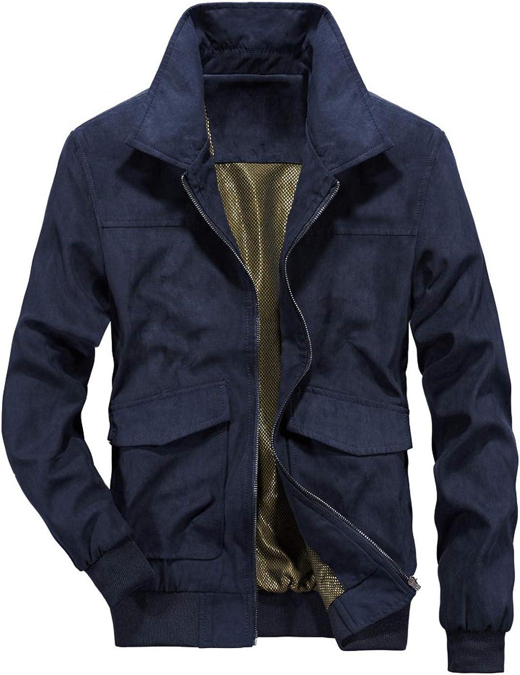 chouyatou New life Houston Mall Men's Vintage Flat Collar Leath Suede Regular Work Zip