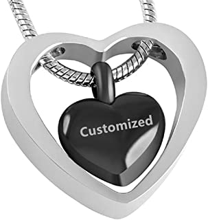 LF Stainless Steel Personalized Name Date Custom Double Hearted Ash Keepsake Necklace Cremation Urn Pendant Funnel Fill Kit Sets for Family Pets Ash Memorial,Free Engraving Customized