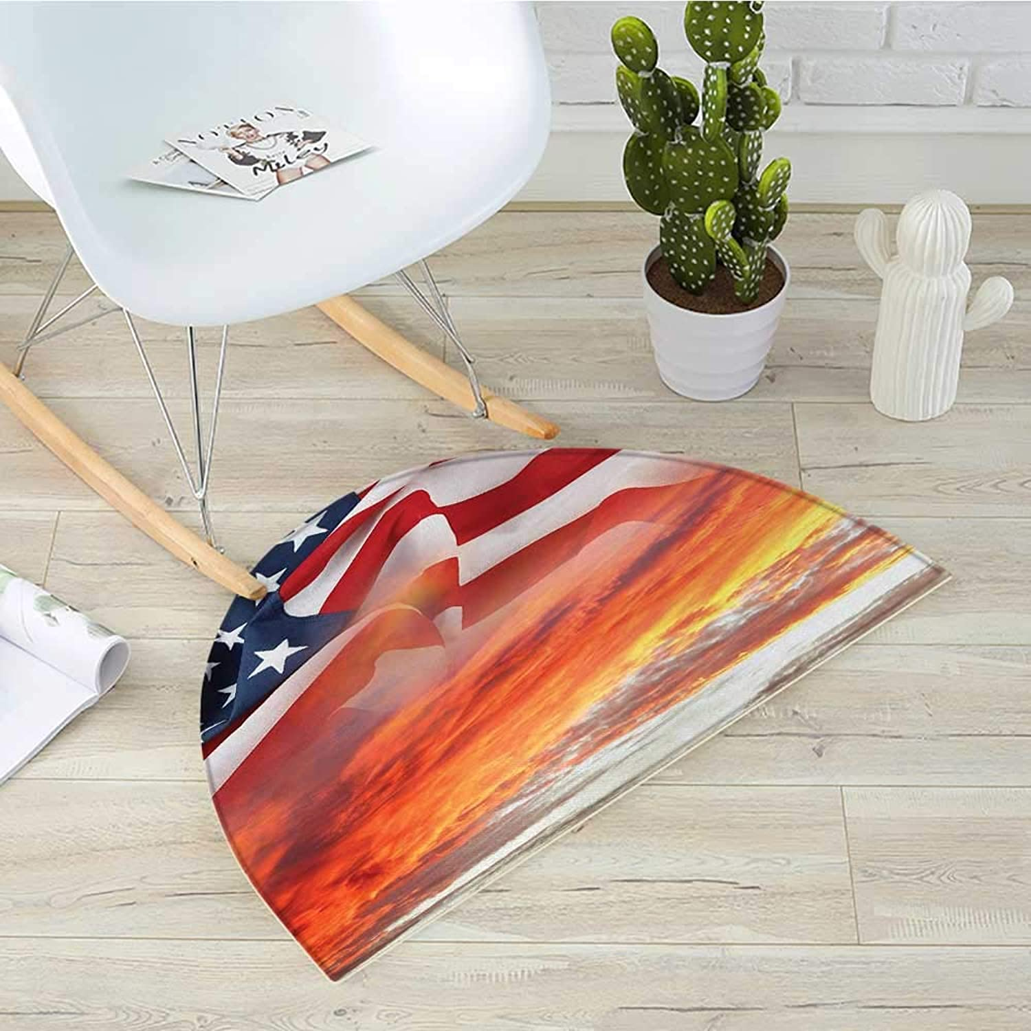 American Flag Half Round Door mats Dramatic Skyline on Clouds and Flag Freedom and Independence Memorial Print Bathroom Mat H 39.3  xD 59  Multicolor