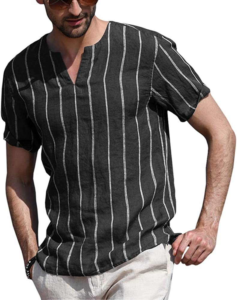 Mens Short Sleeve Striped Hippy Shirts Casual Slim Henley Shirt Cool Top Blouse