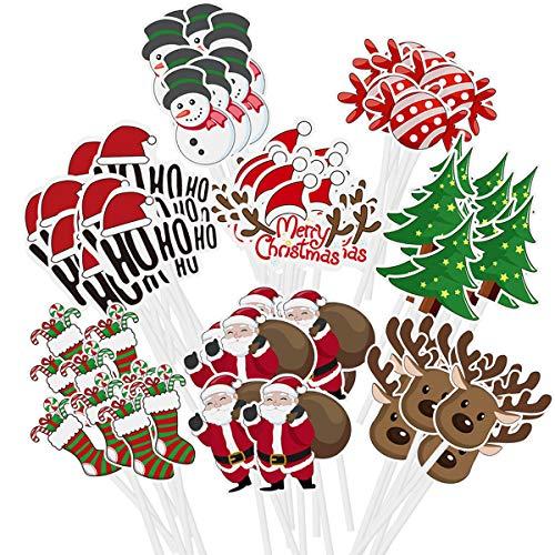 Amosfun 72 STÜCKE Weihnachten Cupcake Topper Kuchen Dekoration Weihnachtsmann Baum Schneemann Socke Candy Thema Party Kuchen Topper Picks Weihnachtsdekoration Lieferungen