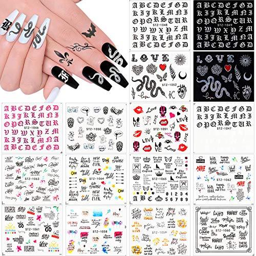 Kalolary 16 Blatt Nagelsticker Nagelaufkleber Selbstklebende Wassertransfer Nail Art Sticker Schlange Fingernägel Schablone Nagel Tattoos Aufkleber Nageldesign für Mädchen Frauen