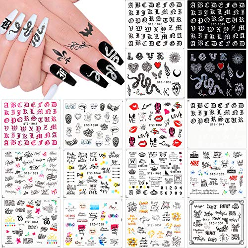 Kalolary 16Pcs Nail Art Stickers Water Transfer Nail Decals for Women, Letter Snake Flower Leaf Flamingo Flower Nail Design Nail Stickers for Manicure Fingernails Decorations