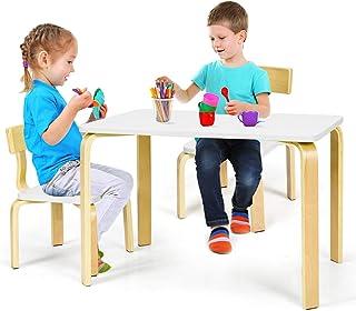 Costway Ensemble Table et Chaise pour Enfant, Inclus 1 Table et 2 Chaises, Fabriquer en Bois Courbé de Haute Qualité pour ...