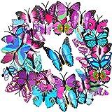 36 Stücke Schmetterling Haarspangen Bunte Schmetterling Haarnadeln 3D Weihnachten Schmetterling Haarspangen für Damen Party Gefallen (Rose Rot, Blau, Lila)