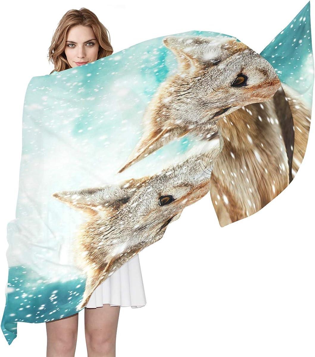 XLING Fashion Scarf Animal Wolf Winter Snowflake Long Lightweight Sunscreen Scarf Shawl Wrap Muffler Neckerchief for Women Men