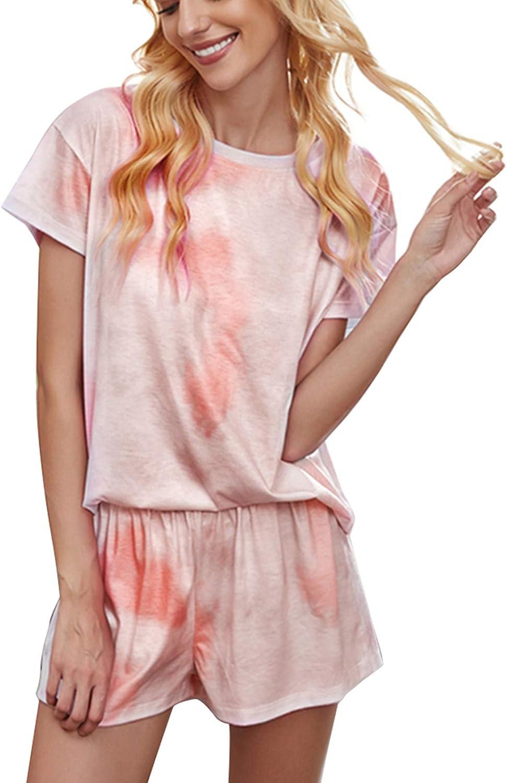 Women's 2 Piece Tie Dye Pajama Sets Casaul Star Print Crew Neck Pullover Shirt + Short Lounge Sets Nightdress Sleepwear Pjs