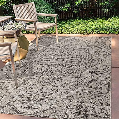 JONATHAN Y Estrella Bohemian Medallion Textured Weave Indoor/Outdoor Black/Gray 9 ft. x 12 ft. Area Rug, Coastal,EasyCleaning,HighTraffic,LivingRoom,Backyard, Non Shedding (SMB105D-9)