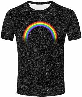 ZeShan Men Women Unisex Couple 3D Shirt Funny Rainbow Printing Art T-Shirt Tee