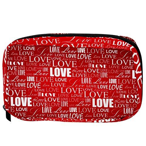 Pequeña bolsa de cosméticos para bolso, bolsa de maquillaje, bolsa de cosméticos, neceser de viaje, neceser de viaje, bolsa de lápiz, monedero con cremallera, diseño de corazón rosa