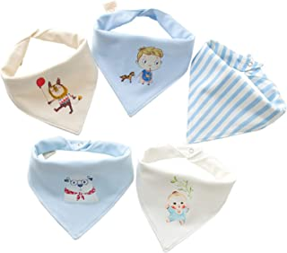 Cunina 5 Pack Baby Bibs for Drooling 100% Cotton Breathable and Comfortable Triangle Bibs for Newborn Baby (Stlye 1)