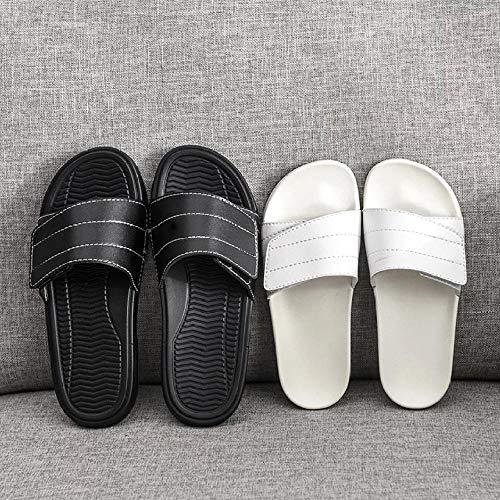 Cxypeng Zapatillas de Estar por Casa Ultraligera,Zapatillas de Velcro de Suela Gruesa, Sandalias de Playa Antideslizantes de Moda de verano-42_B Negro,Zapatillas de Ducha para Mujer