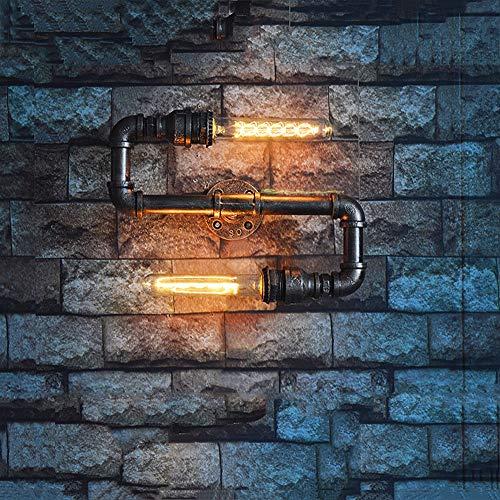 Lámpara de Cachimba Retro Industrial Lámpara de Pared Vintage Creativa 2 * Tubo de Flauta Lámpara de Pared Nostálgica de Metal Estilo Steampunk Hecho a Mano Iluminación de Arte Decoración