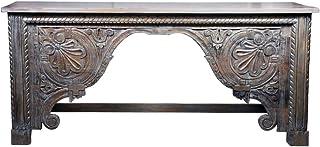 Consola oriental estrecha Galib gris 190 cm | Mesa consola oriental vintage tallada a mano | Aparador rústico de madera ma...