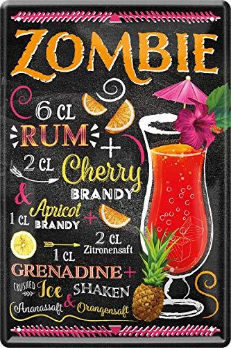 Zombie Rum Brandy Cocktail Rezept 20 x 30 cm Bar Party Keller Blechschild 193