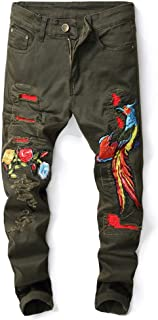 Men's Destroyed Distressed Ripped Skinny Jeans Embroidered Jeans