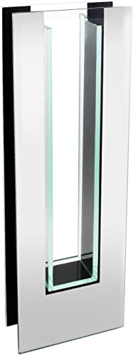 """lowest Flower Glass Vase wholesale Decorative outlet online sale Centerpiece for Home or Wedding by Royal Imports - Tall Rectangle Mirror Trim Plate Glass - (4.5"""" W, 2"""" Opening) 13.5"""" Tall sale"""