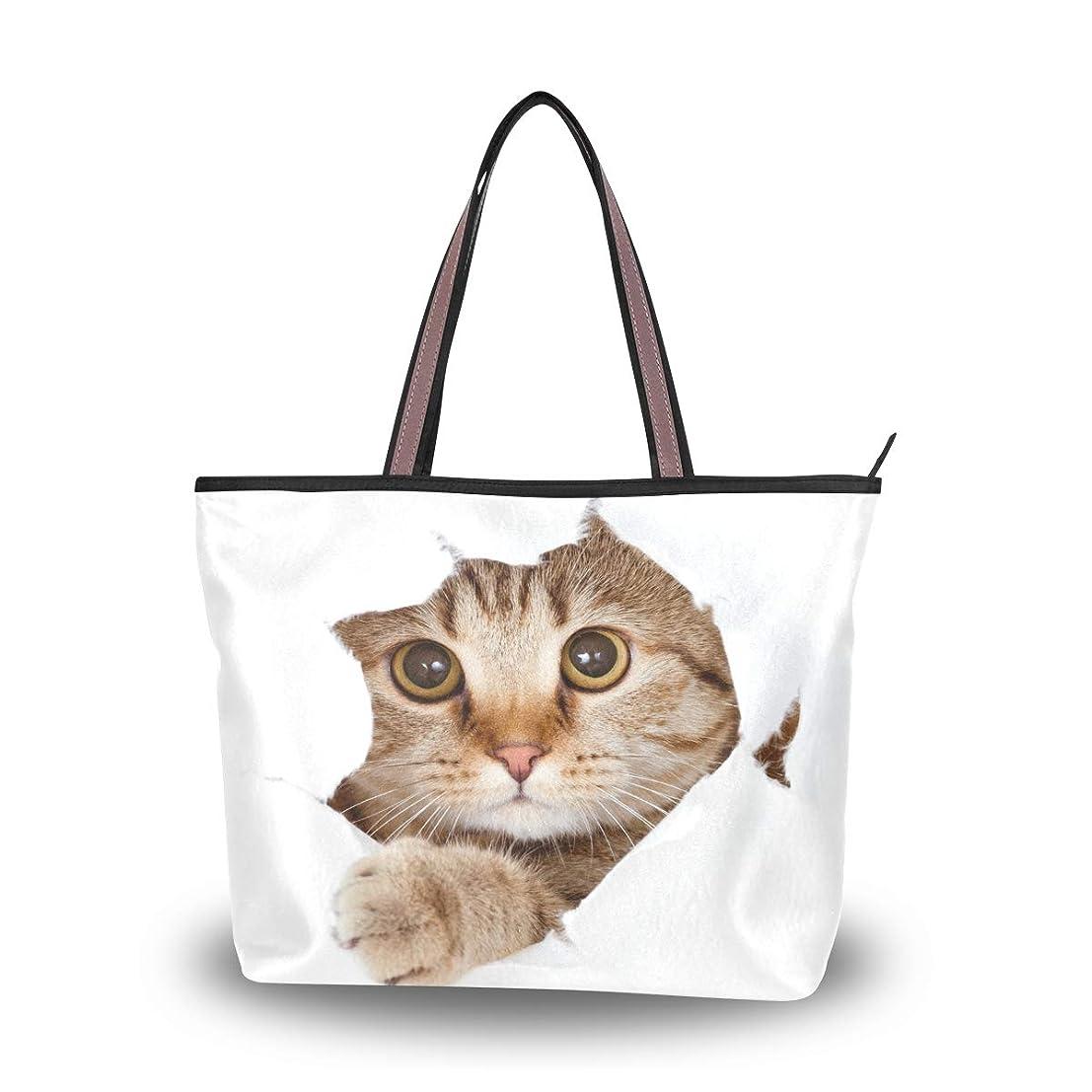 示す泥だらけちょっと待ってマキク(MAKIKU) トートバッグ レディース 大容量 キャンバス 布 a4 軽量 2way 肩掛け 大きめ ファスナー M L かわいい 猫 望でいる 猫柄