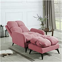 LJBH Lazy Couch Single Bedroom Small Apartment Cute Tatami, Balcony Lounge Chair Folding Bedroom Recliner, Gray Pink comfo...