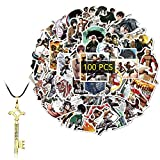 Kilmila Attack on Titan Stickers (100Pcs with Eren Jaeger Key Necklace Pendant). Gifts Merch Attack on Titan Manga Character Guitar Travel Case Sticker Door Laptop Bicycle Sticker