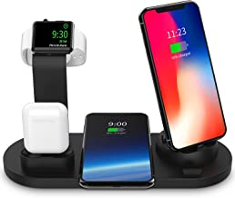 Wireless Charger Dock – 4-in-1 Multiple Device Fast Charging Station – Qi Fast Wireless Charging Stand Compatible iPhone 11, 11 Pro, X, XS, XR, XS Max, 8, 8 Plus, Samsung