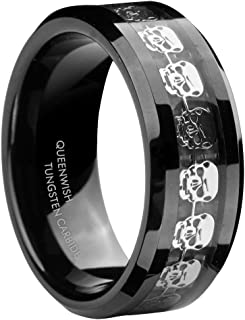 8mm Black Tungsten Carbide Rings Men's Silver Skull Skeleton Inlaid Band Size 6-13