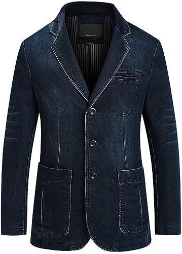 Vestes en Jean Hommes Slim Fit Suit Vestes Revers Parcravate Manches Outwear Longues Denim Loisirs Transition Vestes Blazer Hommes Décontracté Hommes