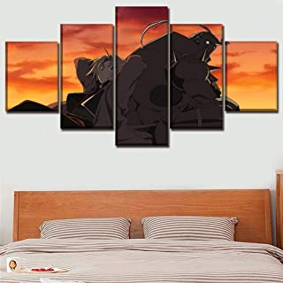 XIAOAGIAO 5 Canvas Prints Wall Art Canvas Print Painting Picture for Bedroom 5 Panel Anime Fullmetal Alchemist Alphonse Elric Edward Poster Home Decor Paintings on Canvas