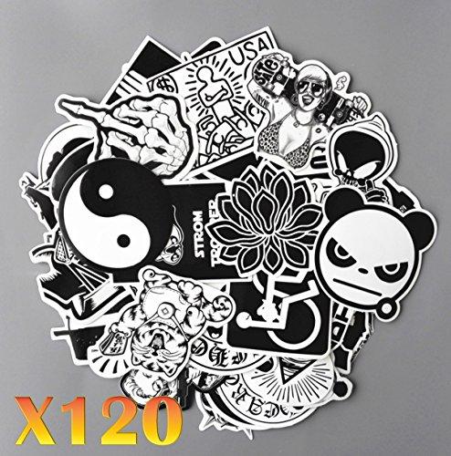 France en Stock 120 Autocollants Stickers Noir et Blanc Fun pour Smartphone, Auto, Ordinateur, Casque, Skate.