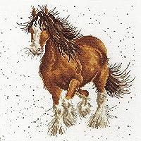 クロスステッチ大人、初心者11ctプレプリントパターン馬40x50cm -DIYスタンプ済み刺繍ツールキットホームの装飾手芸い贈り物40x50cm(フレームがない )