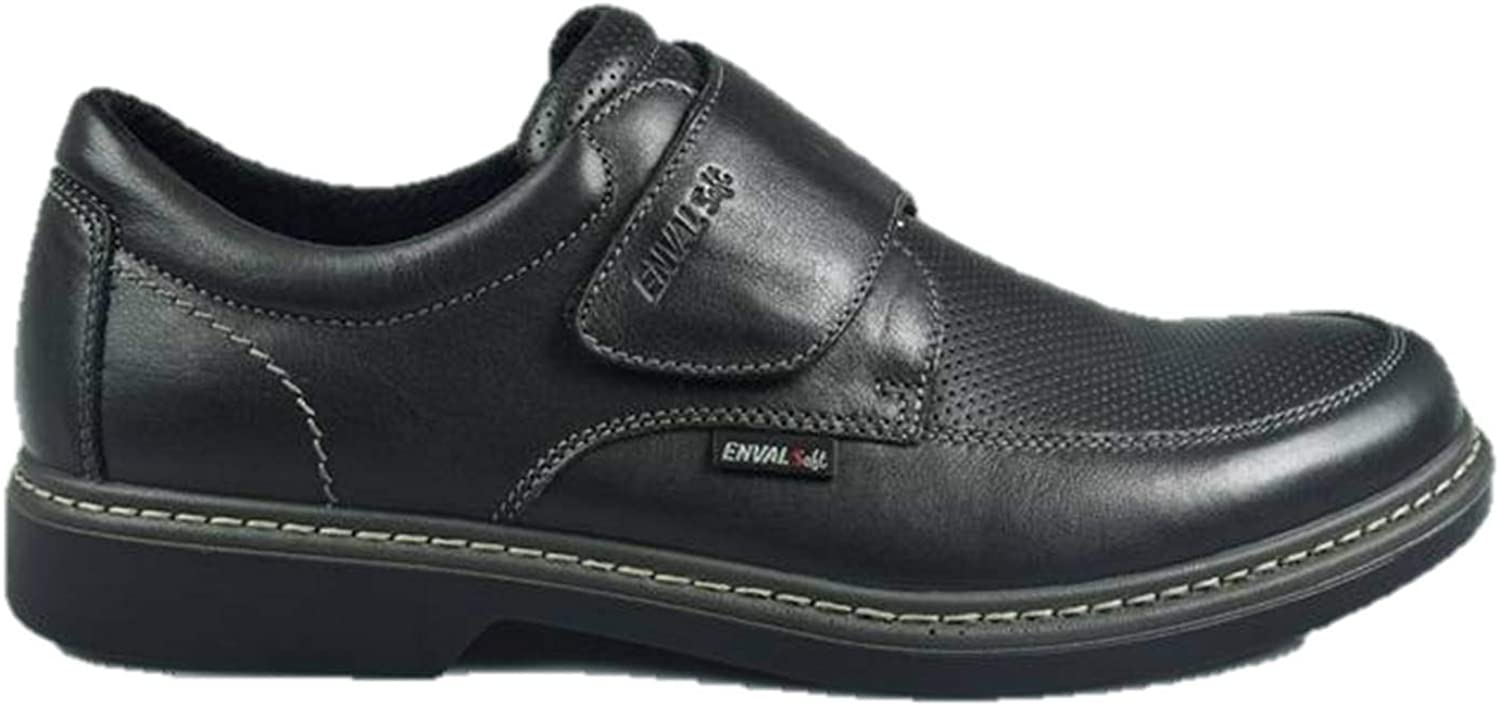 ENVAL SOFT 3231500 Slip on Moccasin Black Leather with Tear and Memory Foam Made in
