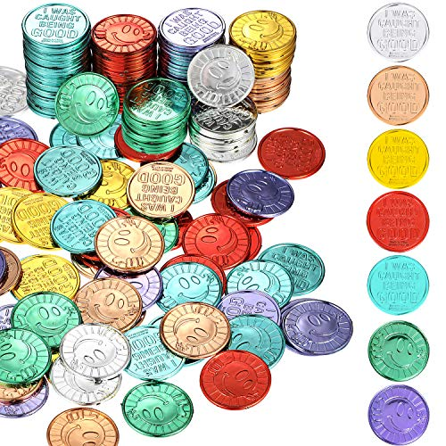 200 Pieces I was Caught Being Good Incentive Coins Colorful Plastic Reward Coins School Teacher Reward and Prize Supplies Smile Face Coin Pretend Play Coin for Counting, Halloween Christmas Party