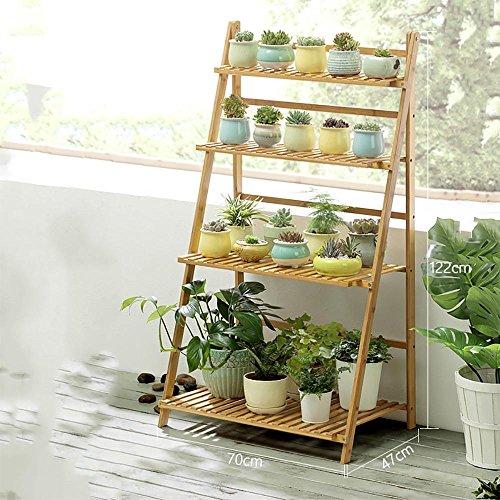 LLLXUHA Plantes en pot Multi-couche Stand de plante, Simple Pliant Multifonction Support de fleurs, intérieur Plantes charnues Présentoir, Espace de rangement livres étagère à livres , Primary Color , 70*47*122cm