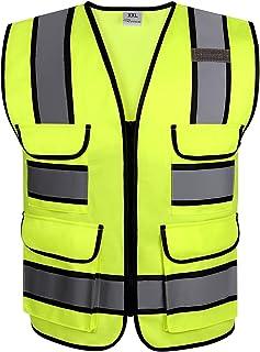 RYACO Reflecterend Vest, hoge zichtbaarheid ANSI klasse 2 veiligheidsvest met reflecterende strips, 4 zakken en ritssluiti...