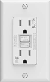 ELEGRP 15 Amp GFCI Outlet, 5-15R GFI Dual Receptacle, TR Tamper Resistant and WR Weather Resistant, Self-Test Ground Fault Circuit Interrupters, Wall Plate Included, UL Listed (1 Pack, White)