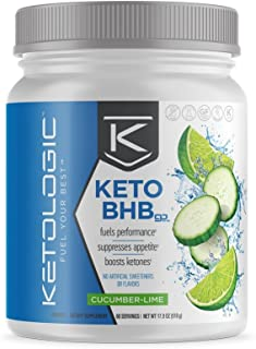 KetoLogic Keto BHB Exogenous Ketones Powder Supplement: Cucumber Lime (60 Servings) - Boosts Ketosis, Increases Energy & Focus, Suppresses Appetite – Supports Keto Diet & Weight Management