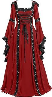 WXDSNH Jurk met capuchon, vierkante hals, uitlopende mouwen, grote swing middeleeuwse retro Halloweenjurk