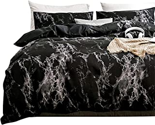 Spring Meow Black Duvet Cover King Marble Bedding Set with Zipper Closure, Also as Quilt Cover or Comforter Cover, King (104x90 inches), 3 Pieces(1 Duvet Cover + 2 Pillowcases)