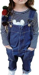 LaoZanA Niños Niñas Monos Denim Peto Vaquero Tirantes Ajustables Pantalones Overall Mono