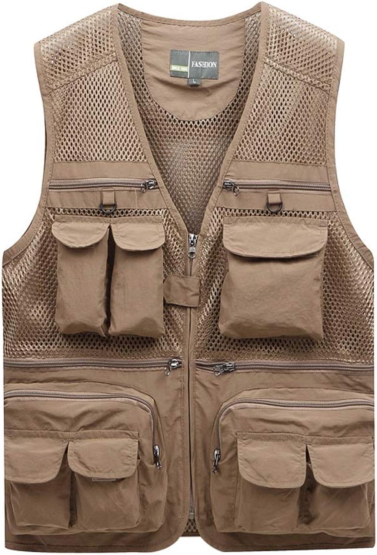 Pocket Vest Men's Fishing Vest Spring and Summer Thin Section Outdoor mesh MultiPocket Photography Vest Vest (color   Khaki, Size   4XL)
