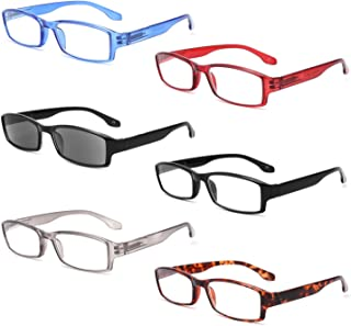 Reading Glasses 6 Pack Rectangular Frame with Spring Hinge Include Reading Sunglasses for Men Women Outdoor Reading Eyegla...