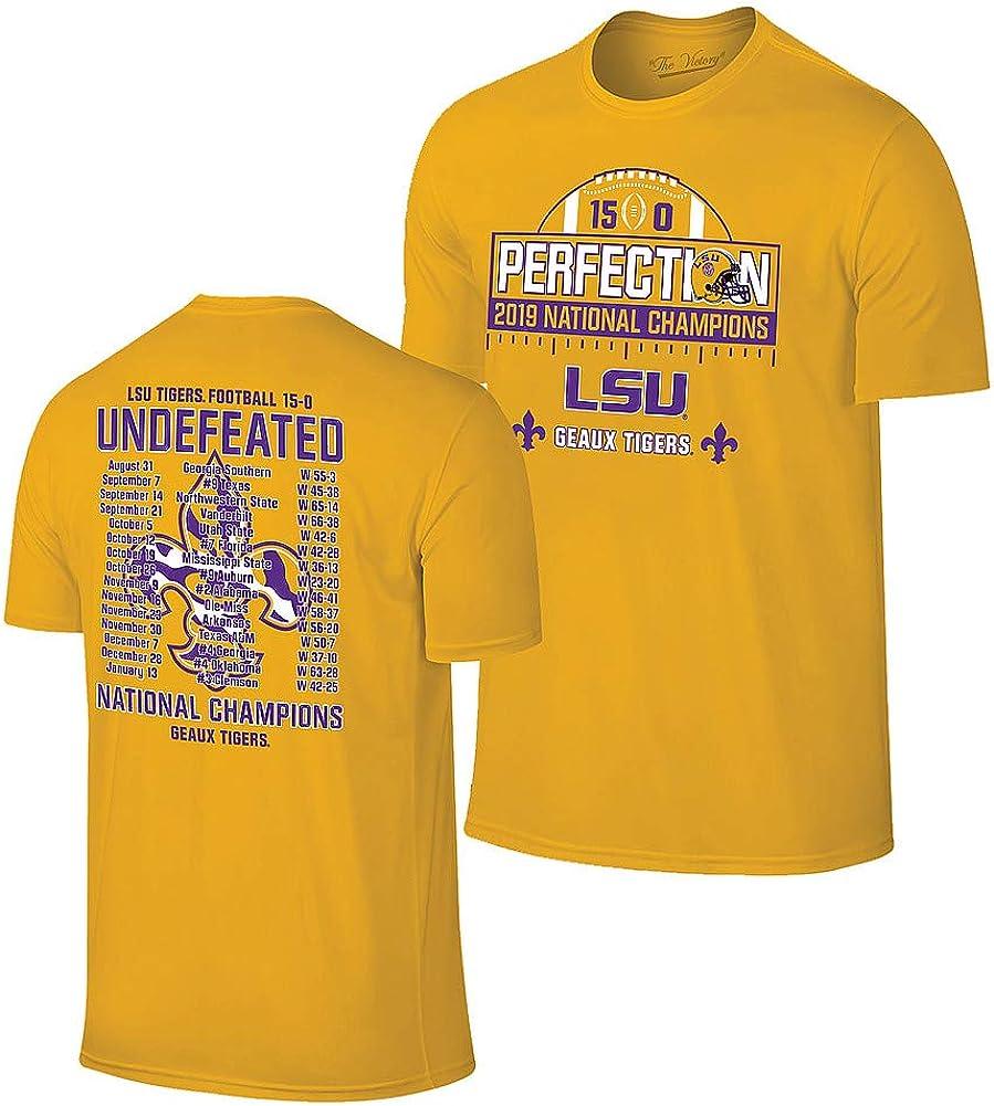 Elite Fan Shop LSU Tigers National Championship Champs Perfection Tshirt 2019-2020 Schedule Gold