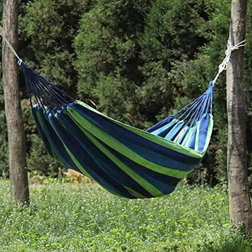 NMDD Tragbare Hängematte Outdoor Hängematte Garten Sport Home Reisen Camping Schaukel Leinwand Streifen Hängebett Hängematte Rot, Blau 190 X 80 cm, B.
