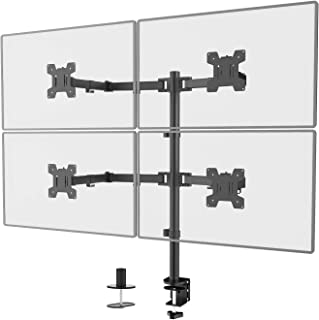 WALI Quad LCD Monitor Desk Mount Fully Adjustable Stand Fits 4 Screens up to 27 inch, 22 lbs. Weight Capacity per Arm (M00...