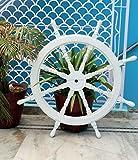Nagina International White Washed Ship Wheel Wood Ship's Wheels/Wood Ship Steering Wheel/Nautical Home Decor (36 Inches)