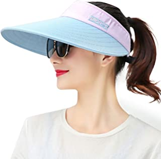 Maylisacc Wide Brim Sun Visors for Women Packable Sun Hat Beach Golf Gardening Topless-Hat