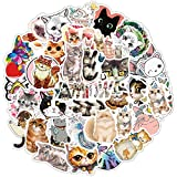 Cute Waterproof Cats Vinyl Stickers Funny Animals Sticker for Laptop Guitar Car Suitcase Fridge Water Bottle Bicycle Decals DIY(80Pcs Cute Cats)